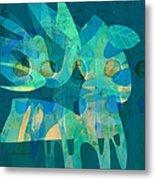 Blue Square Retro Metal Print by Ann Powell