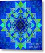 Blue Sri Yantra Variation Metal Print