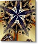 Blue Star With Comets Metal Print