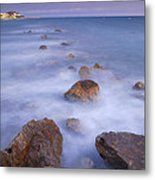 Blue Sunset At The Rocks Metal Print