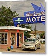 Blue Swallow Motel Metal Print