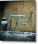 Blue Table And Chairs Metal Print