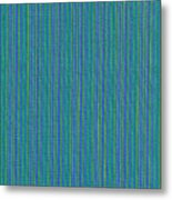 Blue Teal And Yellow Striped Textile Background Metal Print