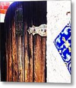 Blue Tile Brown Door 1 Metal Print