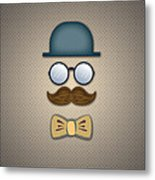 Blue Top Hat Moustache Glasses And Bow Tie Metal Print