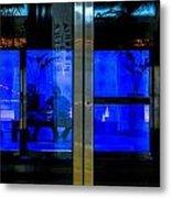 Blue Tram Windows Metal Print