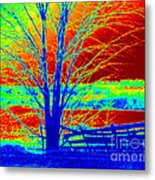 Blue Tree On Red And Green Background Metal Print