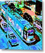Blue Trolley Portland Metal Print