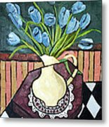 Blue Tulips On Octagon Table Metal Print