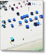 Blue Umbrellas On A Sunny Beach Metal Print