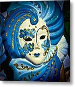 Blue Venetian Mask Metal Print