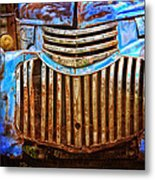 Blue Vintage Car Metal Print