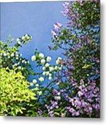 Blue Wall With Flowers Metal Print by Elena Elisseeva