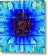 Blue Wallflower Abstract Metal Print