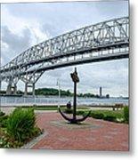 Blue Water Bridge Anchor Metal Print
