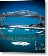 Blue Water Bridge Reflection Metal Print