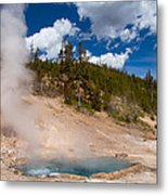 Blue Water White Steam Metal Print