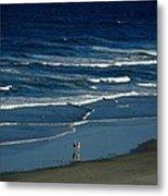 Blue Wave Walking Metal Print