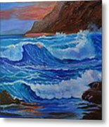 Blue Waves Hawaii Metal Print
