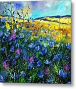 Blue Wild Chicorees Metal Print