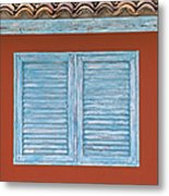 Blue Window Shutter Of Aruba Metal Print