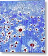Blue With White Daisies Metal Print