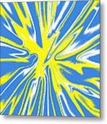 Blue Yellow White Swirl Metal Print
