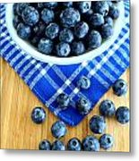 Blueberries And Blue Napkin Metal Print