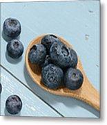 Blueberries On A Spoon Metal Print
