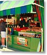 Blueberries Strawberry Jam Baskets Ferme Racine Petits Fruits Jean Talon Market Scene Carole Spandau Metal Print