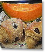 Blueberry Scones And Cantaloupe Metal Print