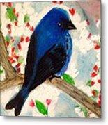 Bluebird Amid Apple Blossoms Metal Print