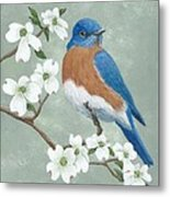 Bluebird And Dogwood Metal Print
