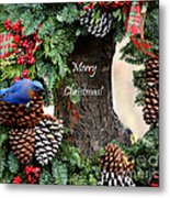 Bluebird Christmas Wreath Metal Print