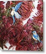Bluebirds Love Sumac Metal Print by Helen Klebesadel