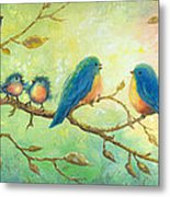 Bluebirds On Branches Metal Print