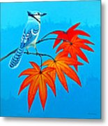 Bluejay In The Fall 2 Metal Print