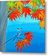 Bluejay In The Fall Metal Print