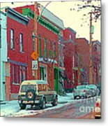 Blues And Brick Houses Winter Street Suburban Scenes The Point Sud Ouest Montreal Art Carole Spandau Metal Print