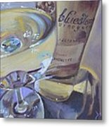 Bluestone Traminette And Glass Metal Print