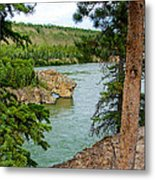 Bluff Over The River In Five Finger Rapids Recreation Site Along Klondike Hwy-yt  Metal Print