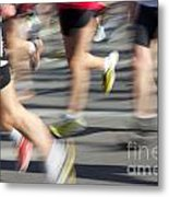 Blurred Marathon Runners Metal Print