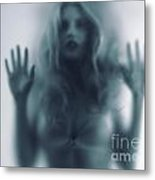 Blurred Young Woman Silhouette Behind Glass Metal Print