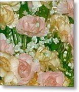 Blush Beige Floral Metal Print