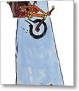 Bmx Drawing Metal Print