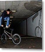 Bmx Flatland Monika Hinz Doing Awesome Trick With Her Bike Metal Print