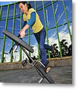 Bmx Flatland - Monika Hinz Riding On Rear Wheel Metal Print