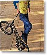 Bmx Flatland Ride - Wonderful Warm Light Metal Print