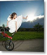 Bmx Flatland Rider Monika Hinz Jumps In Wedding Dress Metal Print