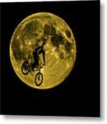 Bmx Moon Metal Print